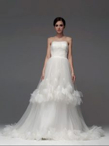 Spectacular Ruffled Strapless Sleeveless Brush Train Lace Up Wedding Gown White Tulle