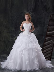 Comfortable White Sleeveless Brush Train Beading and Appliques and Ruffles With Train Wedding Gowns