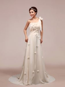 Extravagant One Shoulder Sleeveless Wedding Dress With Brush Train Ruching and Hand Made Flower White Chiffon
