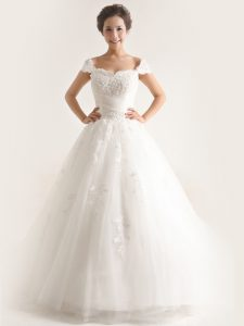 Cap Sleeves Brush Train Lace and Appliques Lace Up Wedding Gown