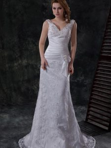 V-neck Sleeveless Wedding Dresses Brush Train Beading and Lace and Appliques and Ruching and Bowknot White Lace