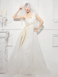 Excellent White Lace Up Wedding Dresses Lace and Appliques and Belt and Hand Made Flower Sleeveless Floor Length