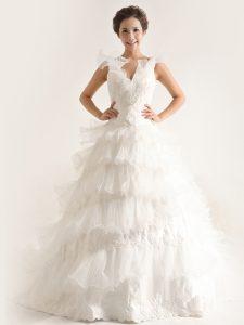 Free and Easy Ruffled V-neck Sleeveless Brush Train Zipper Wedding Gown White Chiffon