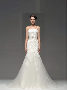 Flare Mermaid Sleeveless With Train Lace and Appliques Side Zipper Wedding Gown with White Brush Train