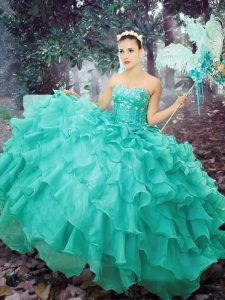 Decent Sweetheart Sleeveless Sweet 16 Dresses Floor Length Beading and Ruffled Layers Turquoise Organza