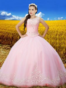 Tulle Scoop Sleeveless Lace Up Beading and Lace and Embroidery Vestidos de Quinceanera in Baby Pink