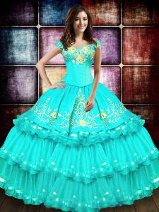Sexy Off the Shoulder Ruffled Turquoise Sleeveless Organza Lace Up Quinceanera Gown for Military Ball and Sweet 16 and Q