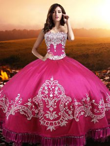 Spectacular Hot Pink Lace Up Sweetheart Beading and Embroidery Quinceanera Gowns Taffeta Sleeveless