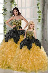 Clearance Yellow Sleeveless Beading and Ruffles Floor Length Sweet 16 Quinceanera Dress