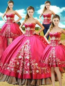 Four Piece Taffeta Sweetheart Sleeveless Lace Up Beading and Embroidery 15th Birthday Dress in Hot Pink