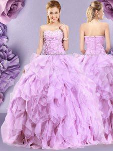 Wonderful Lilac Sweetheart Zipper Beading and Ruffles Sweet 16 Dresses Sleeveless
