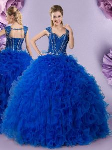 Wonderful Royal Blue Straps Neckline Beading and Ruffles Sweet 16 Dress Cap Sleeves Lace Up