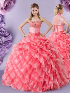 Sleeveless Floor Length Lace Lace Up Quince Ball Gowns with Watermelon Red