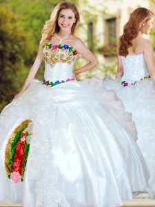 Ball Gowns 15 Quinceanera Dress White Sweetheart Organza and Taffeta Sleeveless Floor Length Lace Up