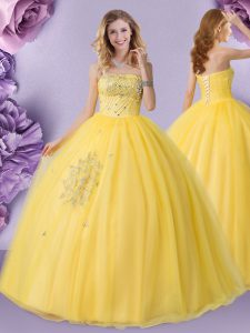 Gold Sleeveless Beading Floor Length Quinceanera Gowns