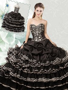 Stylish Black Lace Up Vestidos de Quinceanera Beading and Ruffled Layers and Pick Ups Sleeveless Floor Length