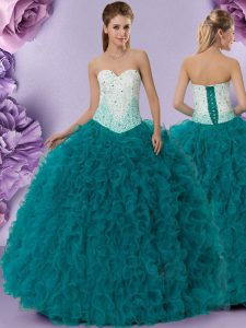 Sweetheart Sleeveless Tulle Sweet 16 Dress Beading and Ruffles Lace Up