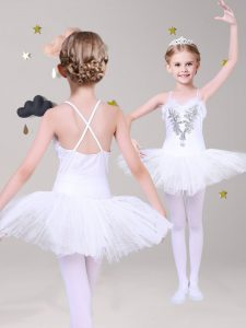 Criss Cross Lace Sleeveless Mini Length Flower Girl Dresses for Less and Appliques