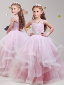 Straps Floor Length Ball Gowns Sleeveless Baby Pink Flower Girl Dresses for Less Lace Up