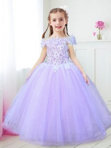 Custom Made Off the Shoulder Lavender Cap Sleeves Floor Length Beading and Appliques Zipper Flower Girl Dresses