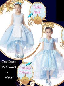 Sumptuous Ball Gowns Flower Girl Dresses for Less Light Blue Scoop Organza Cap Sleeves High Low Zipper