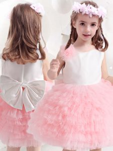 Modern Scoop Ruffled Layers and Bowknot and Hand Made Flower Flower Girl Dress Pink And White Side Zipper Sleeveless Kne