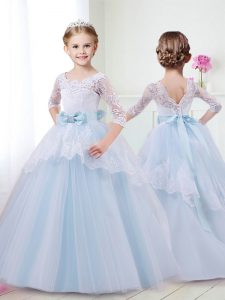 Light Blue Tulle Lace Up Scoop Half Sleeves With Train Flower Girl Dress Brush Train Lace and Bowknot