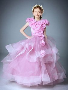 Baby Pink Ball Gowns Tulle Scoop Sleeveless Hand Made Flower Floor Length Zipper Flower Girl Dresses for Less