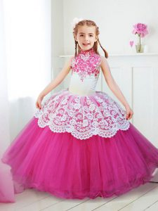 Fancy Halter Top Beading and Lace Flower Girl Dress Hot Pink Zipper Sleeveless Floor Length