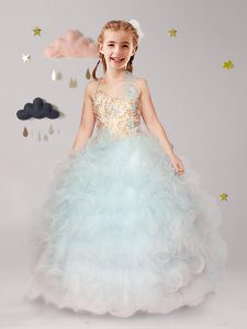 Elegant Halter Top Sleeveless Floor Length Beading and Ruffles and Hand Made Flower Lace Up Flower Girl Dresses for Less