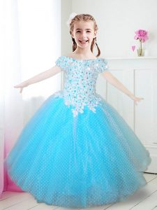 Off the Shoulder Aqua Blue Cap Sleeves Tulle Zipper Flower Girl Dresses for Party and Quinceanera and Wedding Party