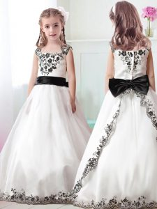 Tulle Straps Sleeveless Zipper Appliques and Belt Flower Girl Dresses in White