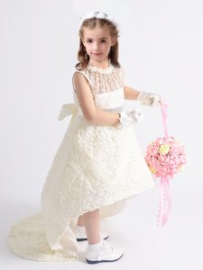 White Fabric With Rolling Flowers Zipper Scoop Sleeveless High Low Toddler Flower Girl Dress Beading and Bowknot