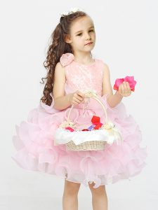 Pink Zipper Scoop Lace and Ruffles Flower Girl Dress Organza Sleeveless