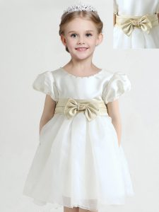 Great White Zipper Scoop Bowknot Toddler Flower Girl Dress Organza Short Sleeves