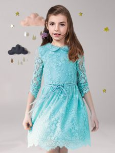 Scoop 3 4 Length Sleeve Zipper Mini Length Lace and Sashes ribbons Flower Girl Dresses for Less