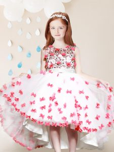White And Red Toddler Flower Girl Dress Party and Quinceanera and Wedding Party and For with Lace and Appliques Scoop Sl