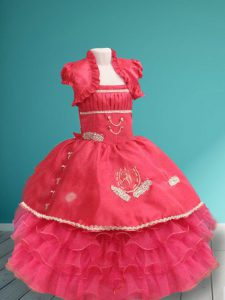 Spaghetti Straps Sleeveless Toddler Flower Girl Dress Floor Length Appliques and Ruffled Layers Coral Red Organza and Ta