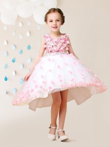 Flare Pink And White Scoop Zipper Lace and Appliques Flower Girl Dresses for Less Sleeveless