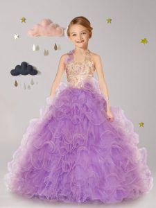 Halter Top Lilac Ball Gowns Beading and Ruffles and Hand Made Flower Flower Girl Dresses for Less Lace Up Organza Sleeve