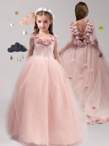 Exceptional Scoop Backless Pink Long Sleeves Brush Train Lace and Appliques and Ruffles With Train Flower Girl Dresses f
