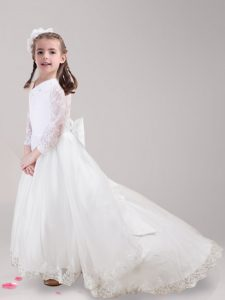 Fantastic Tulle Scoop Long Sleeves Brush Train Zipper Lace and Bowknot Toddler Flower Girl Dress in White