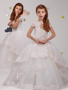 Scoop Backless Tulle Short Sleeves With Train Flower Girl Dresses for Less Brush Train and Lace