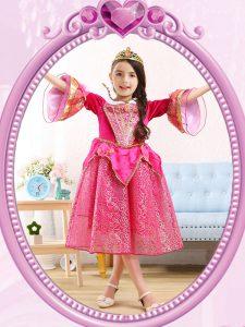 Beautiful Scoop 3 4 Length Sleeve Sequined Flower Girl Dress Sequins Zipper
