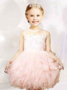 Baby Pink Scoop Zipper Appliques and Ruffles Flower Girl Dresses Sleeveless