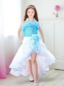 Sweet Halter Top Sleeveless Organza Flower Girl Dress Ruffles Zipper