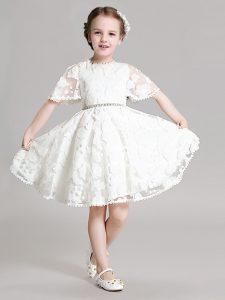 White Short Sleeves Mini Length Beading and Appliques Zipper Toddler Flower Girl Dress