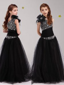 Edgy One Shoulder Floor Length Black Toddler Flower Girl Dress Tulle Sleeveless Beading and Bowknot