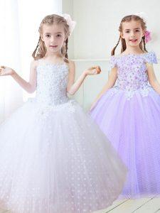 Free and Easy Spaghetti Straps Sleeveless Flower Girl Dresses for Less Floor Length Beading and Appliques White Tulle