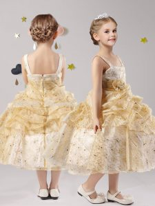 Organza Straps Sleeveless Zipper Pick Ups and Hand Made Flower Flower Girl Dresses for Less in Gold